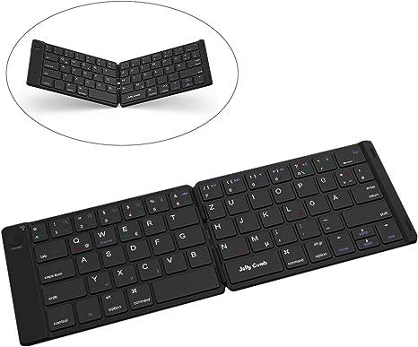 Jelly Comb Mini teclado inalámbrico Bluetooth y plegable para iOS iPad, tableta Android, PC con Windows y diseño alemán QWERTZ [negro]: Amazon.es: Informática