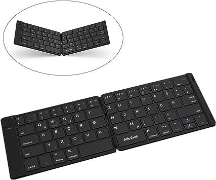 Jelly Comb Mini teclado inalámbrico Bluetooth y plegable para iOS iPad, tableta Android, PC con Windows y diseño alemán QWERTZ [negro]