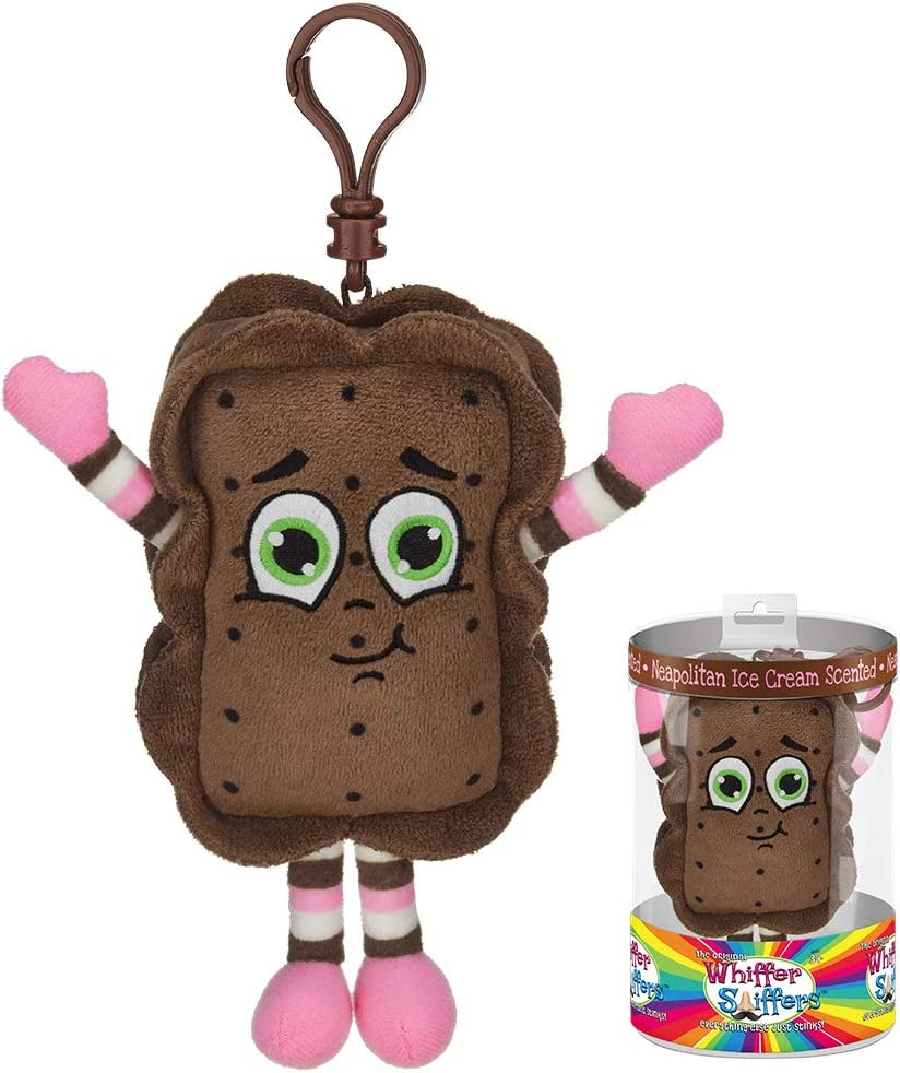 Whiffer Sniffers Neal O. Politan Ice Crean Sandwich Scented Plush Backpack Clip, 5 in