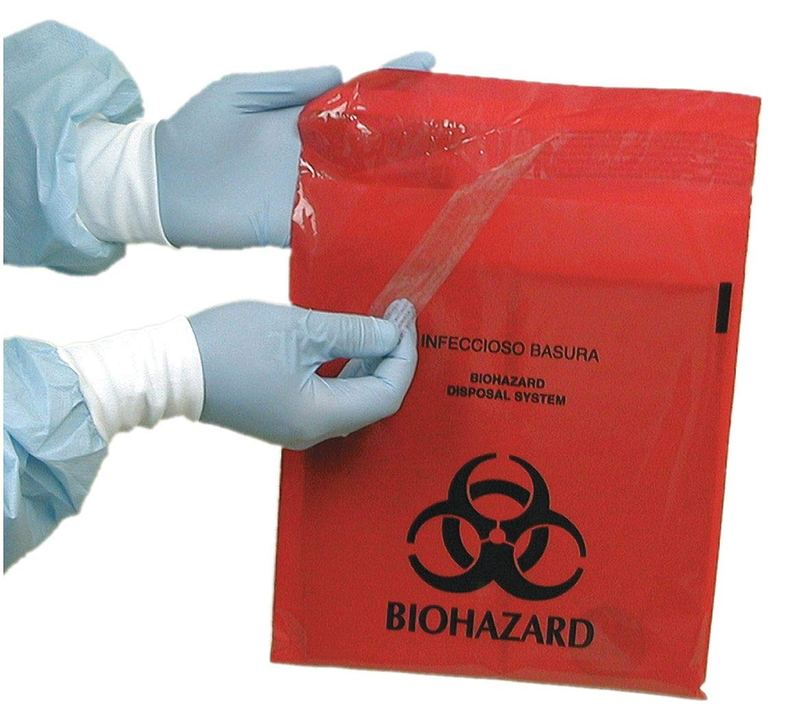 2.6 qt. Red Biohazard Bag, Super Heavy Strength Rating, Flat Pack, 100 PK - MRWB142324