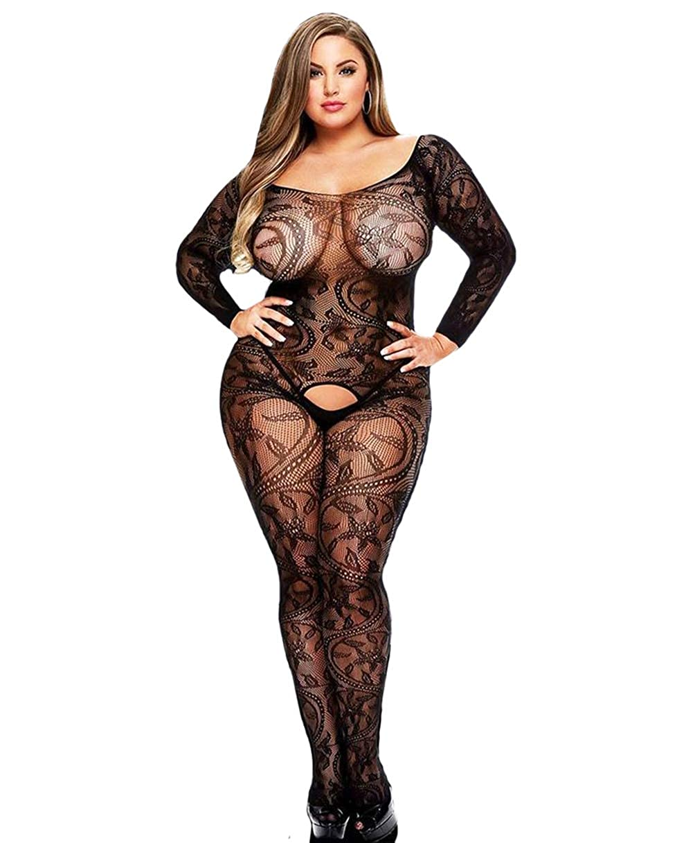4ffd4ebdc6 Amazon.com  Curbigals Sexy Women Lingerie Plus Size Crotchless Bodystocking  Long Sleeves Bodysuit  Clothing