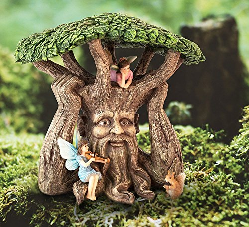 Joykick Fairy Garden Ancient Tree Kit - Miniature Hand Painted Figurine Statues with Accessories - Set of 4pcs for Your House or Lawn Decor