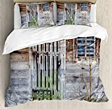 Primitive Country Decor Duvet Cover Set Neglected Old Farmhouse Rustic Wooden Door and Window Rural Bedding Set with 2 Pillow Shams Comfortable 4 Pieces Sets Zipper Closure Brown Green Silver, Twin