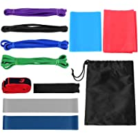 Andoer 11pcs Fintess Resistance Bands Set Workout Exercício Loop Bandas Yoga Stretch Stretch com bolsa de transporte…