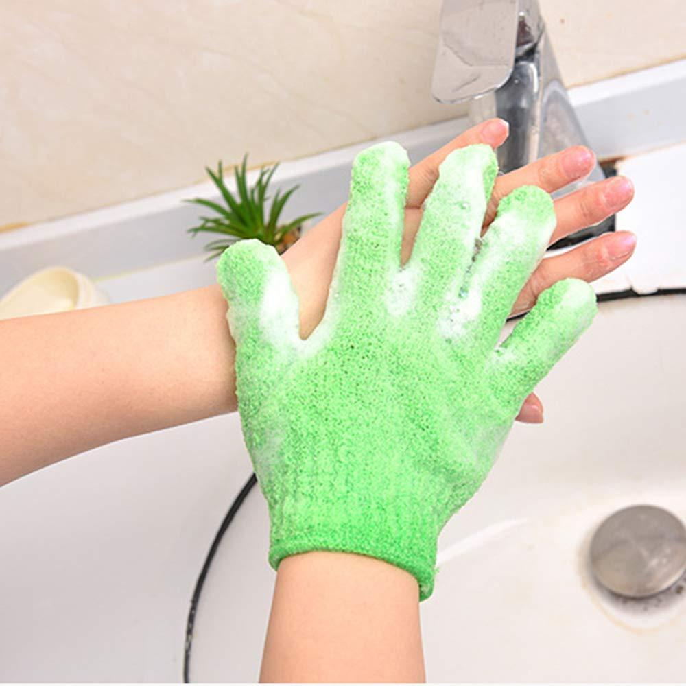 Verde Ogquaton Body Scrubbing Glove Bath Massage Scrubs Guantes exfoliantes de Doble Cara Piel Body Wash Scrubber Guantes de Limpieza