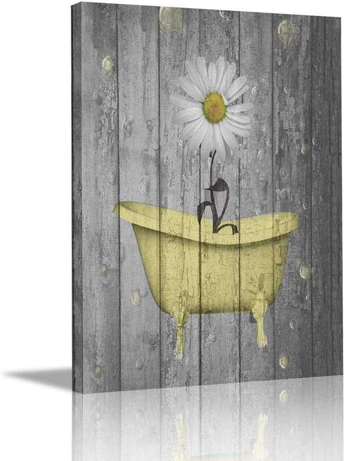 """Ale-art Rustic Floral Canvas Wall Art For Home Bathroom Decorations Yellow Gray Daisy Flower Bubbles Modern Giclee Bathroom Pictures Wall Decor Framed Ready to Hang 16""""x20"""""""
