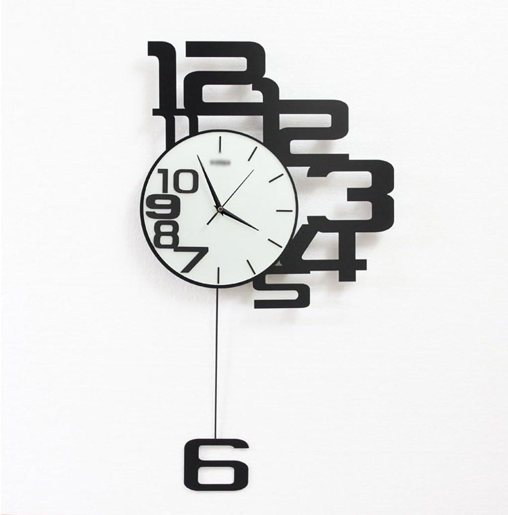 Minimalista Moderno Sala de Estar Reloj Electrónico Casero Reloj de Pared Negro Dormitorio Reloj Decoración Reloj 3 Tipos De Tamaño (Color : Black, tamaño : 60 * 35cm)