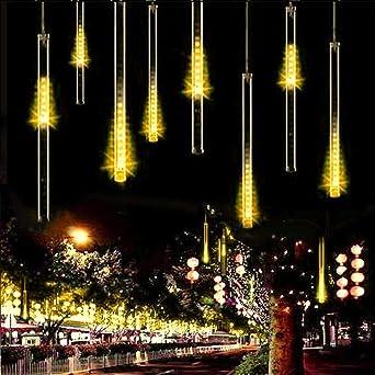 Meteoros Lluvia Luces,SUAVER Impermeable Cadena de Luces 360LEDs 10 Tubo de Luces Solar Luces Jardín Guirnalda de Luzs,Cadena para Fiesta de Boda de Decoración del árbol de Navidad (Blanco cálido): Amazon.es: Iluminación
