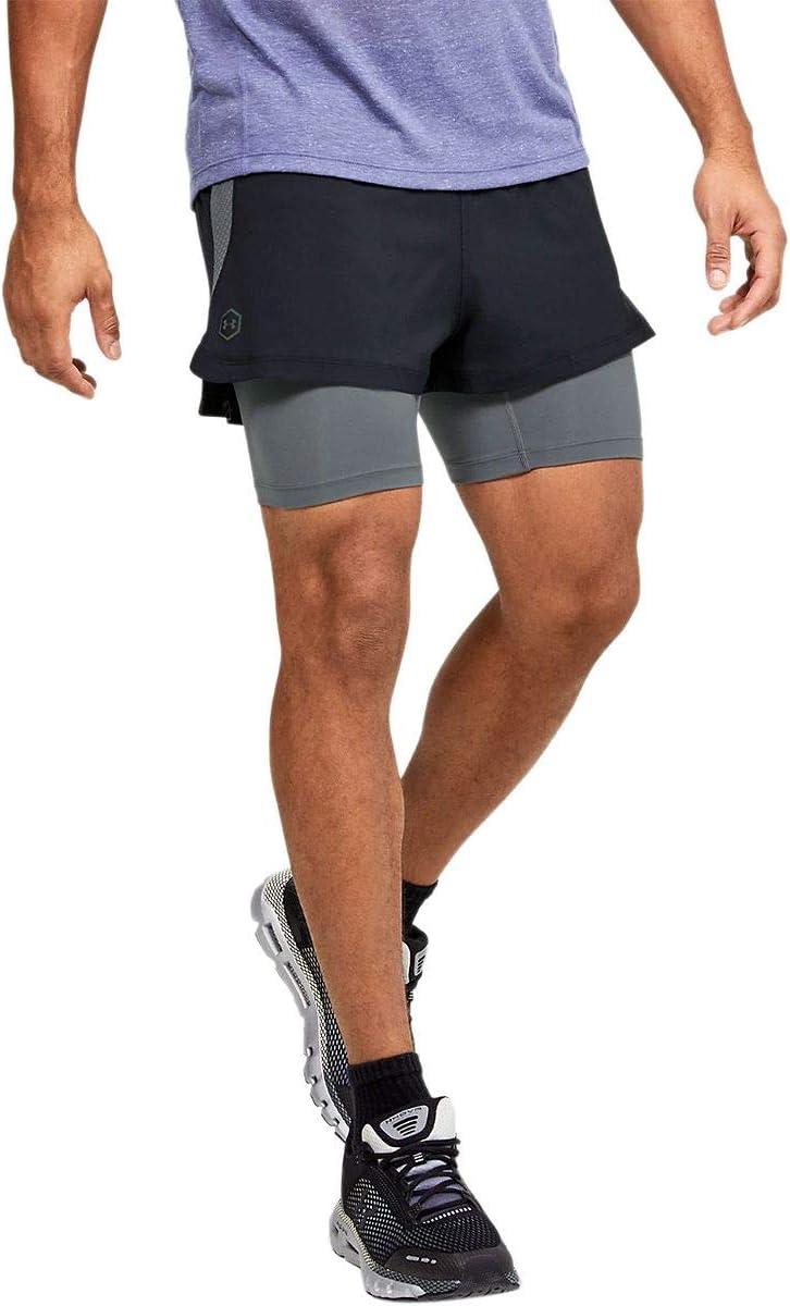 Pantalones Cortos para Correr para Hombre Under Armour Rush 2 en 1 Color Negro