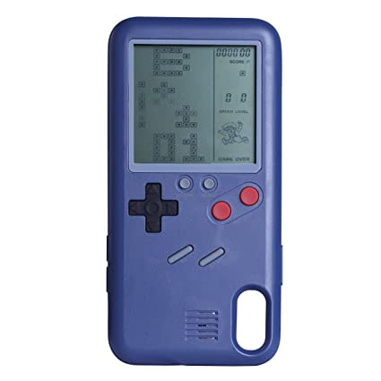 huge selection of cc3d8 00dfa iPhone X Game Case Playable Tetris Game Boy Game Case for iPhone X Shell  TPU Silicone Protective Cover Retro Gameboy iPhone Case (iPhoneX - Blue)