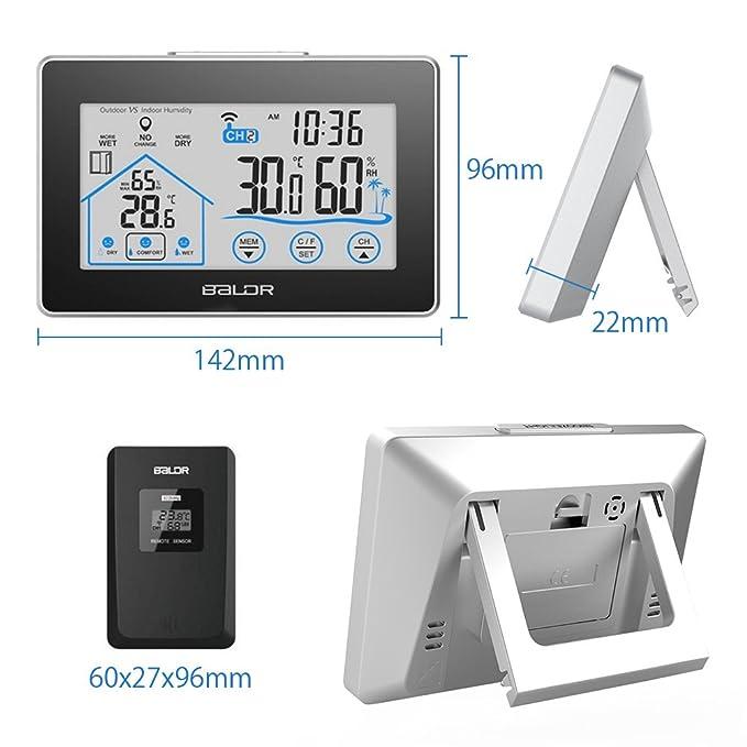 Estación meteorológica inalámbrica, humedad de la temperatura interior al aire libre con pantalla grande LCD Barómetro sensor exterior para la previsión ...