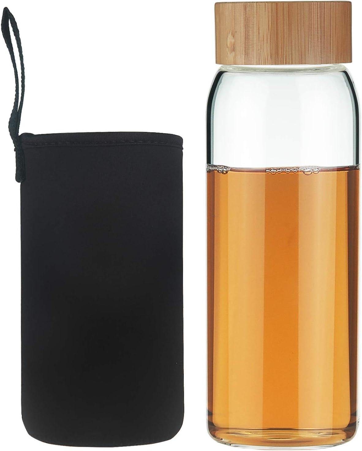 Life4u Botella de Agua de Cristal de Borosilicato de con Funda de Neopreno Sin BPA 750 ml