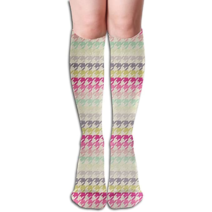 Amazon.com: Unique Houndstooth Pattern Knee High Socks Hiking Thigh ...