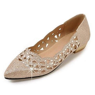 5025893973d2 Amazon.com | CYBLING Women Sparkly Bridal Ballet Flats Rhinestone Pointed  Toe Slip On Wedding Ballerina Shoes | Flats