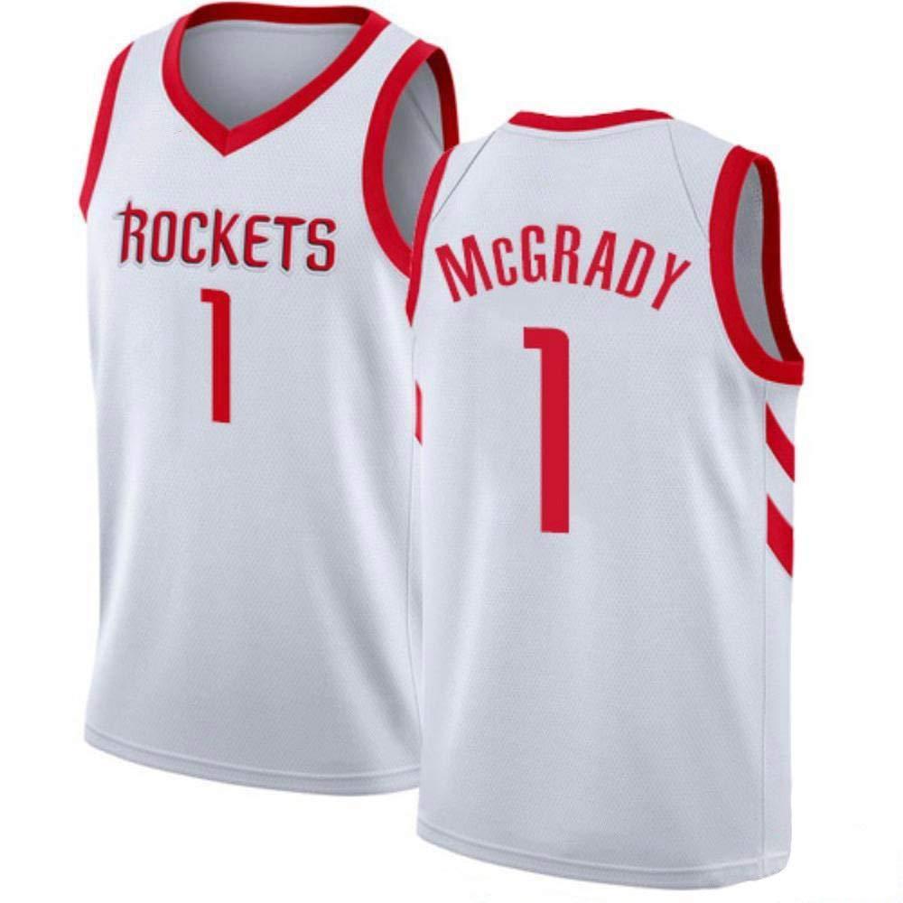 blanc M Tracy McGrady   1 Jersey Basketball Masculin - NBA Houston Rockets, Basketball engrener Hommes Swinghomme Jersey Manches Sport Débardeur