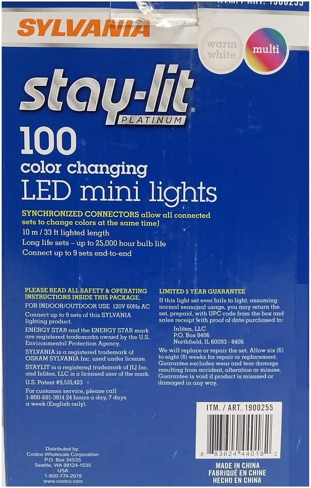Sylvania Christmas Lights 3 Function Changing C Warm White Multi Color Pack Of 5