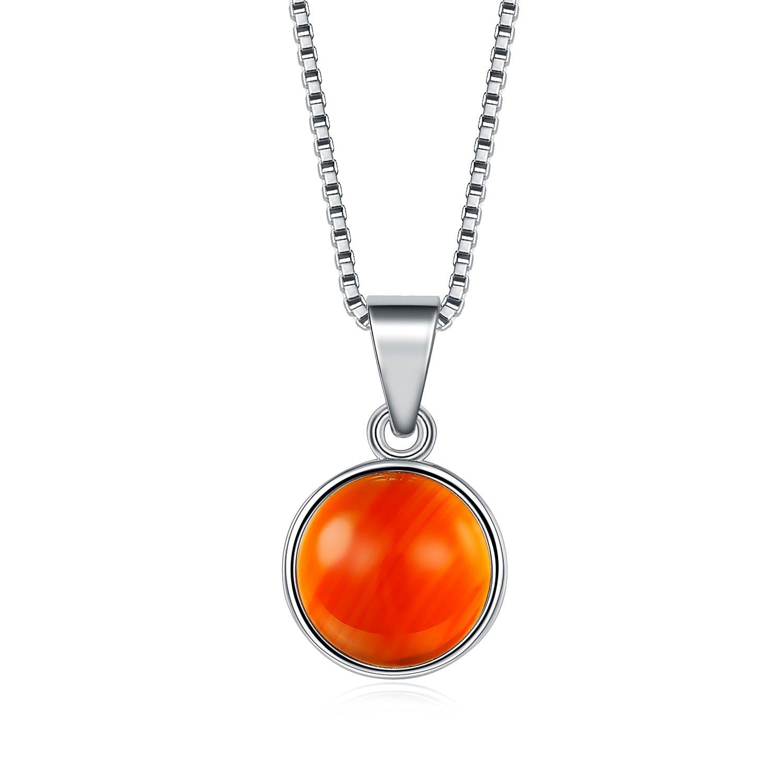 UMODE Bezel Set Red Agate Pendant Necklace16.5+2
