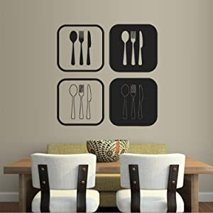 Wall Decal Decor Decals Art Kitchen Spoon Fork Dining Room Cafe Restaurant Lunch Food (M710) by DecorWallDecals