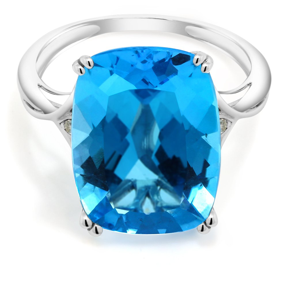 11.70 Ct 16X12mm Emerald Cut Swiss Blue Topaz 10K White Gold Ring With Accent Diamond