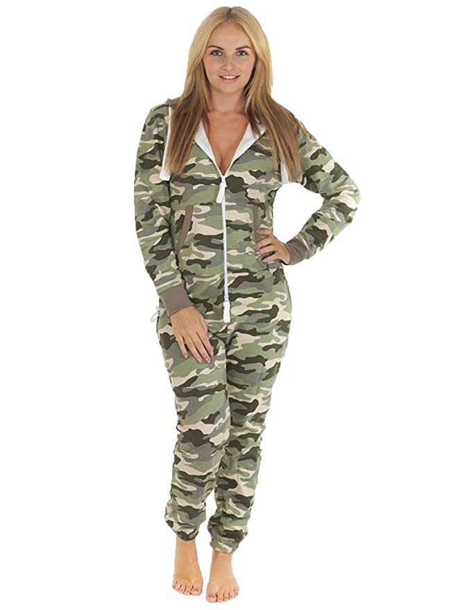 94dac7dad88cd Love My Fashions® Womens Unisex Outfit Aztec Print Camo camouflage Hooded  Zipped All in One Activewear Onesie Jumpsuit For Adult Men Ladies Teens  Lougewear ...