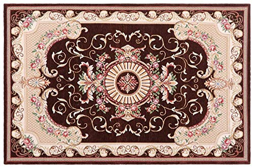 (Antique Area Rug Doormat Chenille Jacquard Classic Pattern Persian Living Dining Room Bedroom Hallway Office Machine Washable Carpet (Brown, 16''x23.5''))