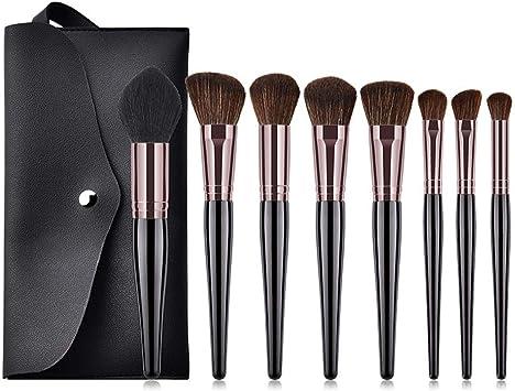 Juego de 8 brochas de maquillaje profesionales con soporte para brochas y pinceles de maquillaje, elegante estuche presentado en una bonita caja de regalo para damas, color negro: Amazon.es: Belleza