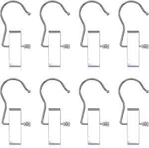 Coideal Heavy-Duty Hanger Clips Hooks, 8 Pack Portable Boot Organizer Pant Towel Holder Stainless Steel Laundry Hook Hanging Clothes Pins for Travel,Closet,Clothing (Silver)