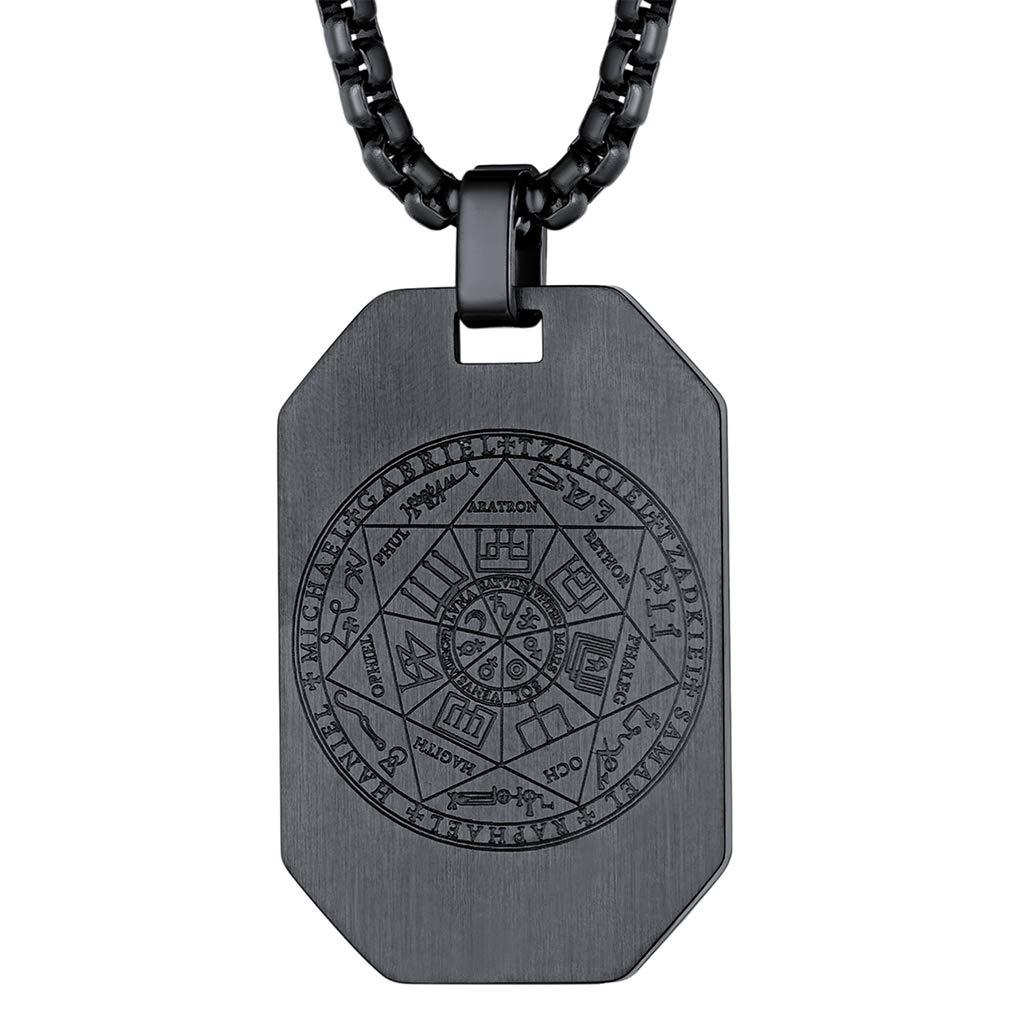 FaithHeart Talisman of The Seven Archangels & Solomon's Seal Pendant Sigils  and Talisman Best Man Necklace King Solomon Seal Necklace for Success