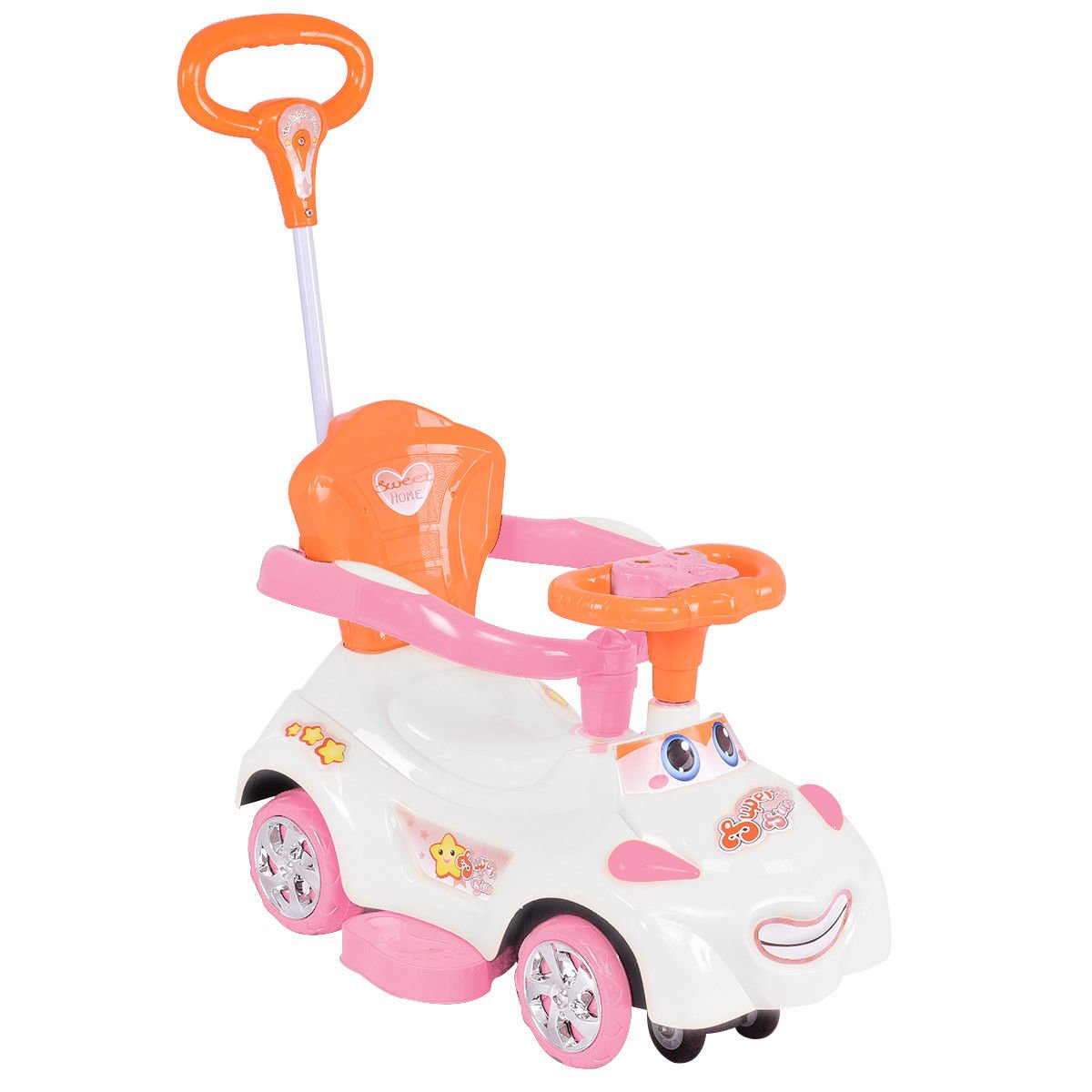 Costzon Kids Ride On Push Car, 3 in 1 Sliding Swinging Wagon w/ Handle Music (White)