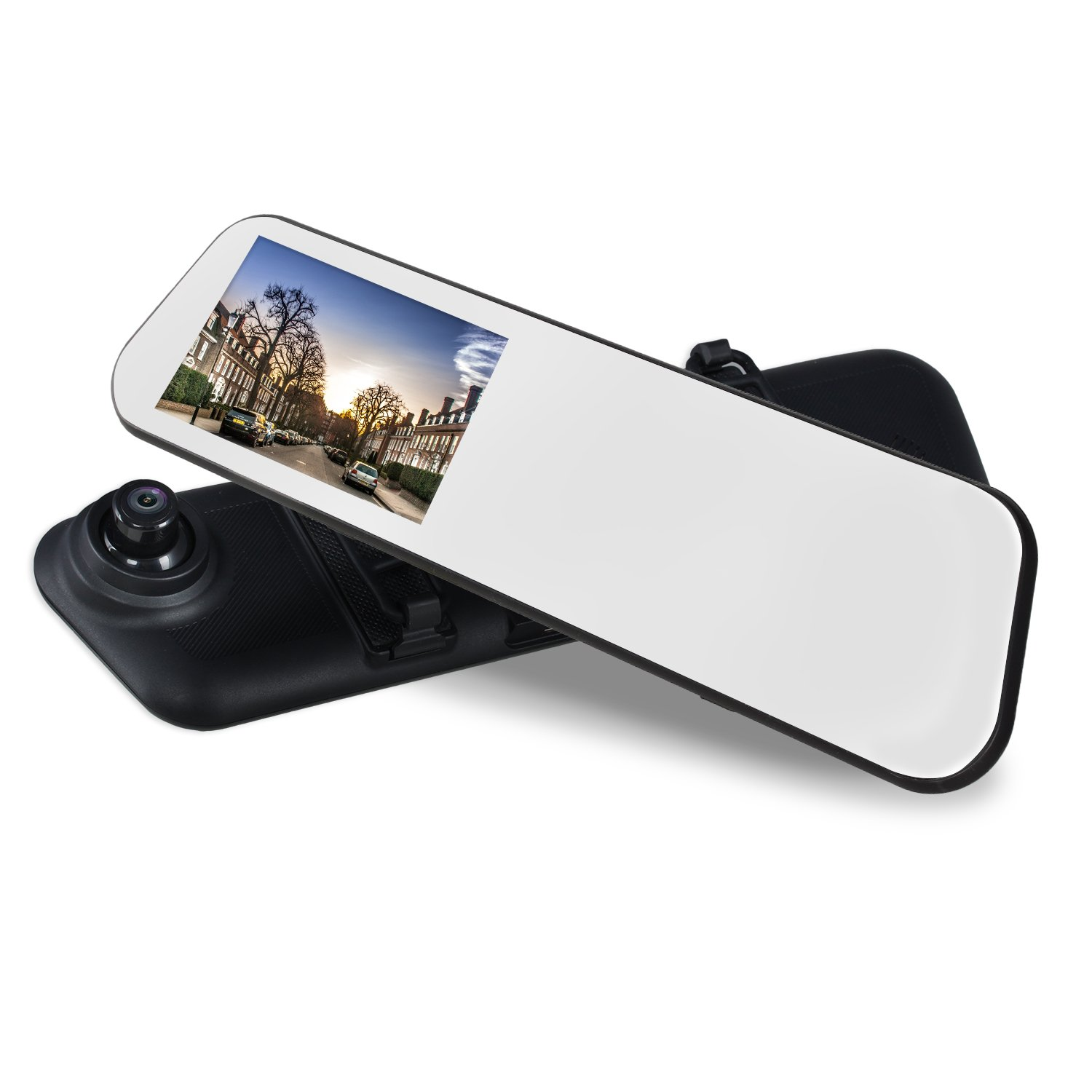 AUTO-VOX M6 Mirror Dash Cam Touch Screen Car Driving Recorder 4.5'' IPS 1080P with Waterproof Backup Camera IP 68, LED Superior Night Vision,Loop Recording, and Motion Detection DVR-M6