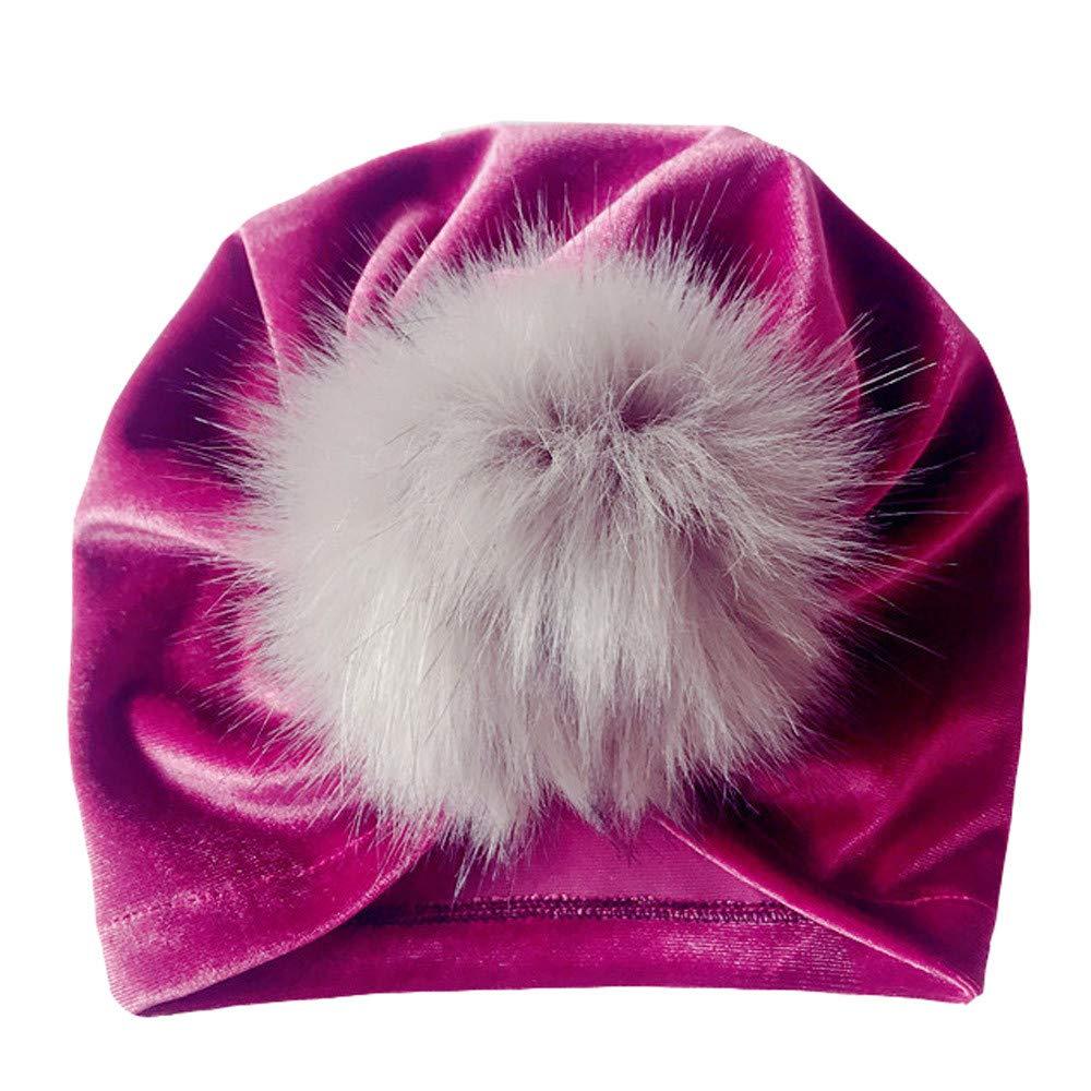 Kasien Kids Baby Hat, Newborn Toddler Kids Baby Boy Girl Venonat Turban Beanie Hat Headwear Hat (Purple)