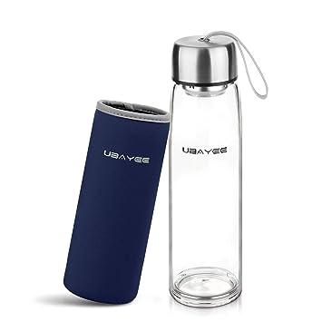 UBAYEE Botella de Agua Cristal, 550ml Sin BPA Botella de Vidrio Borosilicato con Funda de
