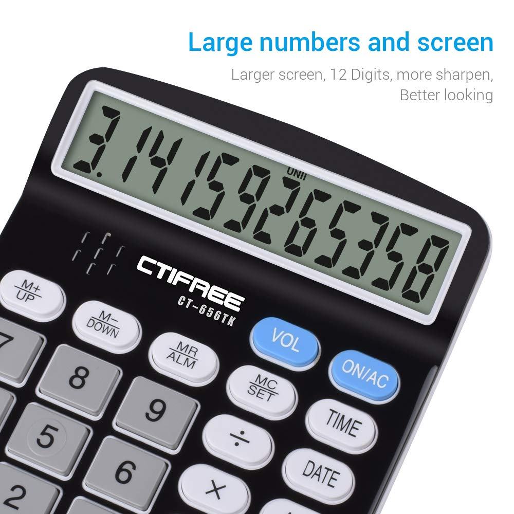 LCD Display Office Calculator,Black Voice Black Everplus Electronic Desktop Calculator with 12 Digit Large Display Voice Calculator