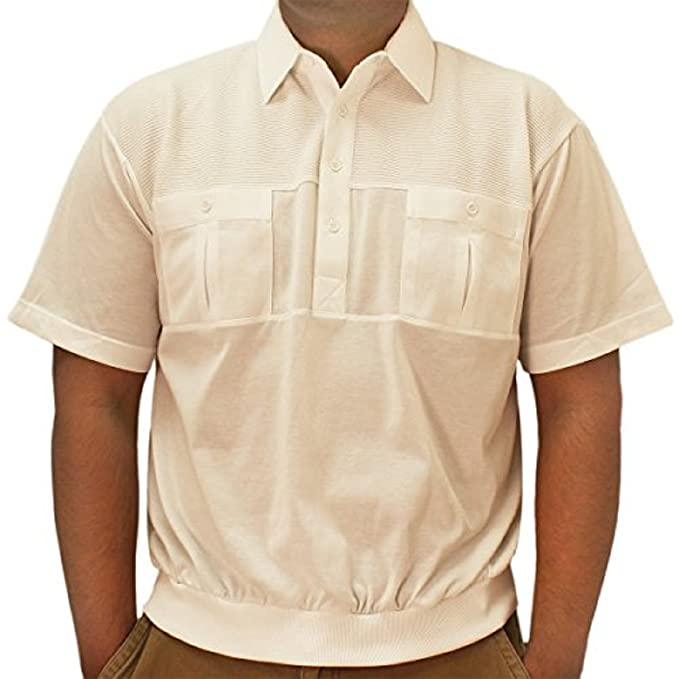 1950s Men's Clothing Classic by Palmland 2 Pocket Solid Banded Bottom Polo Shirt  AT vintagedancer.com