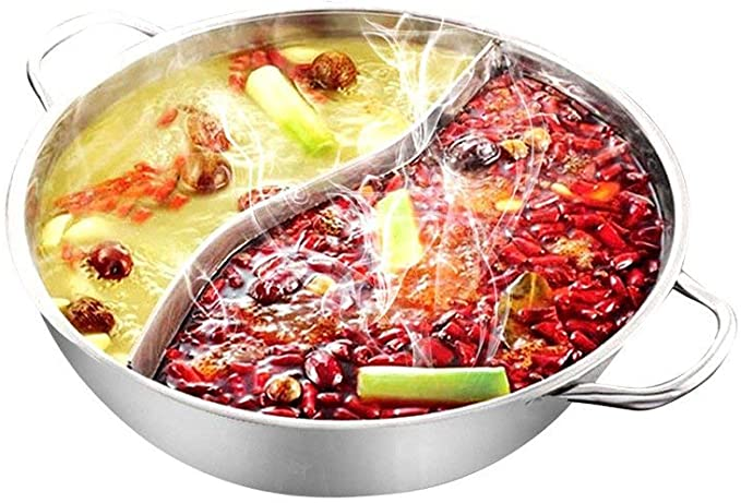 Amazon.com: Yzakka Stainless Steel Shabu Hot Pot with Divider for Induction Cooktop Gas Stove, 30cm, Without Cover: Kitchen & Dining