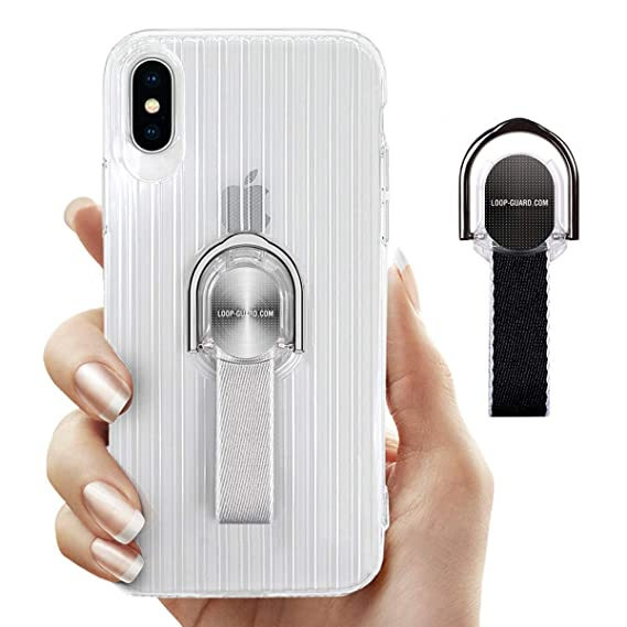reputable site add1d 06058 LAVAVIK iPhone Xs Max Case with Ring Kickstand & Finger Strap, Crystal  Clear Soft TPU Cover with Gray & Black Loop Grips for Apple iPhone Xs Max,  Work ...