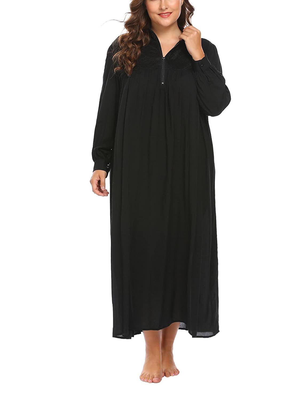 4012b84329 Vansop Women Stand-Neck Long Sleeve Loose Oversize Plus Size Nightwear  Retro Nightgown at Amazon Women s Clothing store