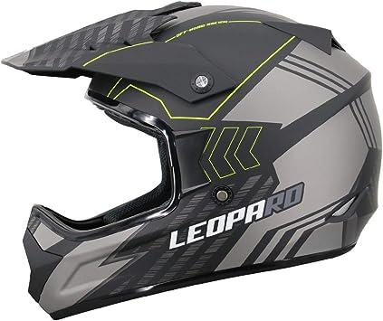 Nero Opaco//Rosso S 55-56cm Leopard LEOX307 Moto Cross Integrale Donna e Uomo Omologato ECE