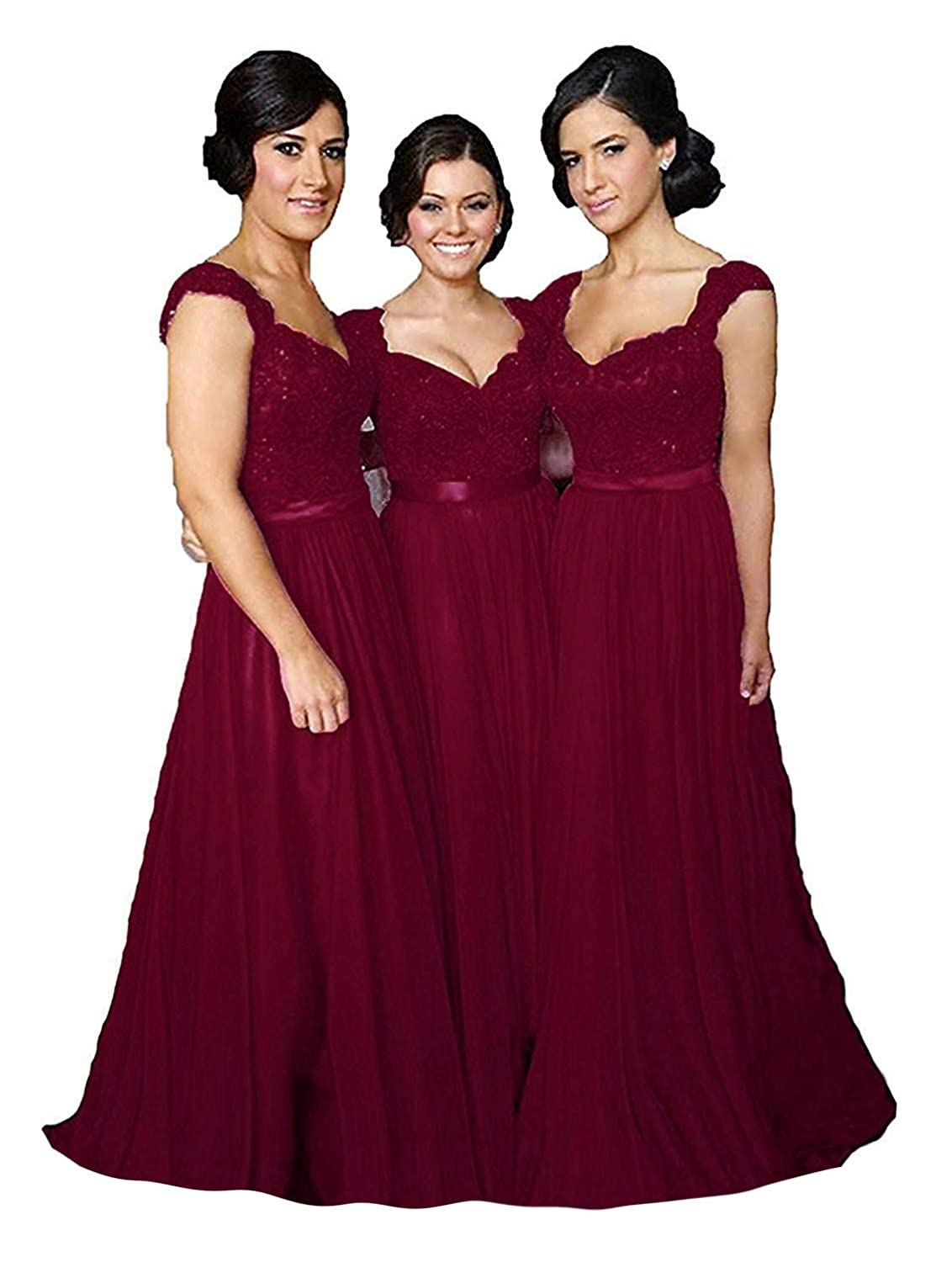 Burgundy Fanciest Women' Cap Sleeve Lace Bridesmaid Dresses Long Wedding Party Gowns