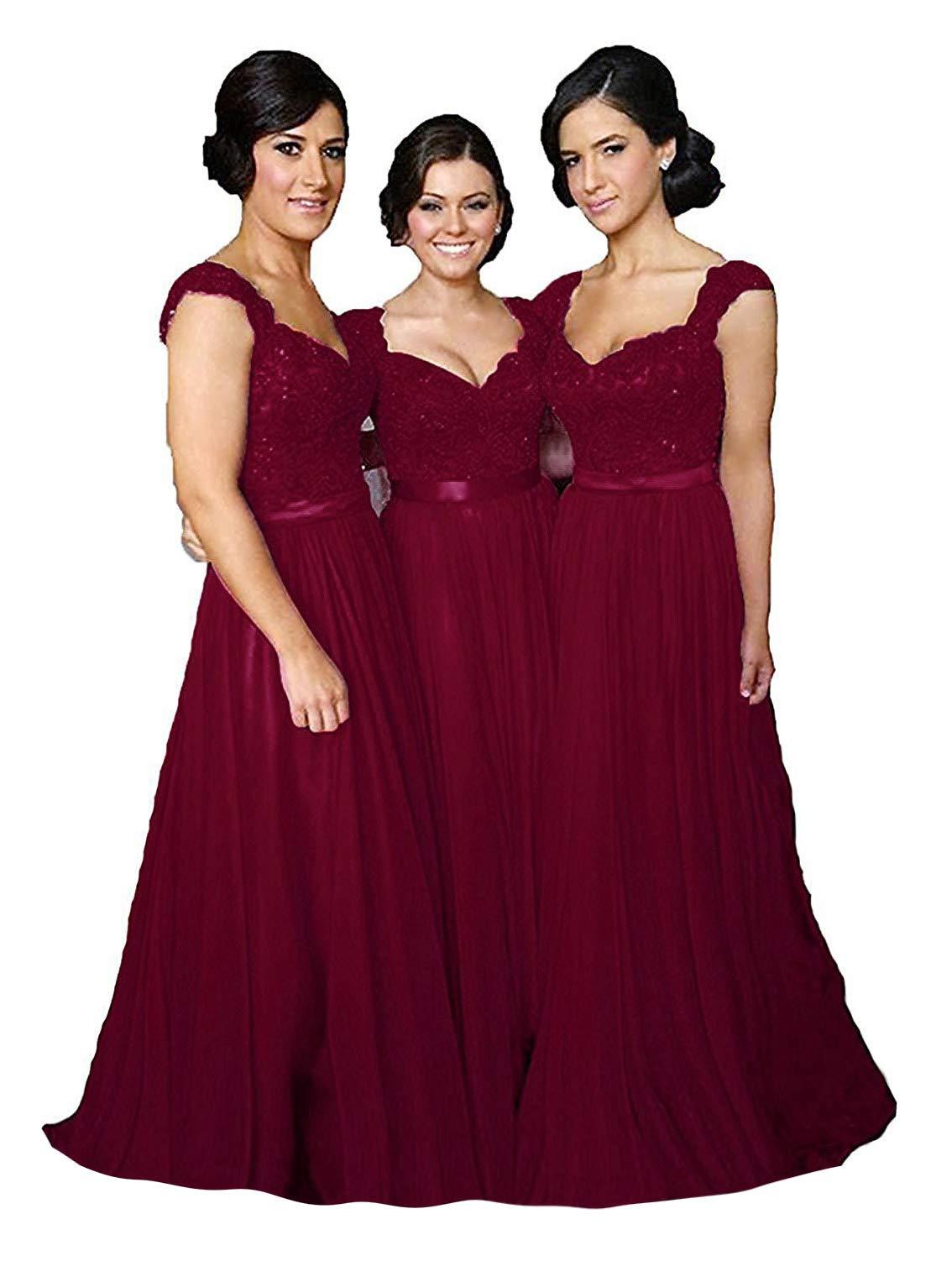 Fanciest Women Cap Sleeve Lace Bridesmaid Dresses Long Wedding Party Gowns Burgundy Us10