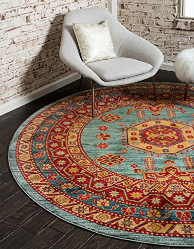 Unique Loom Johannesburg Collection Traditional Geometric Classic Light Blue Round Rug (8' x 8')
