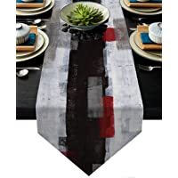 Turquoise and Grey Abstract Modern Art Linen Table Runners Dinner Table Setting Dresser Scarves Farmhouse Style for…