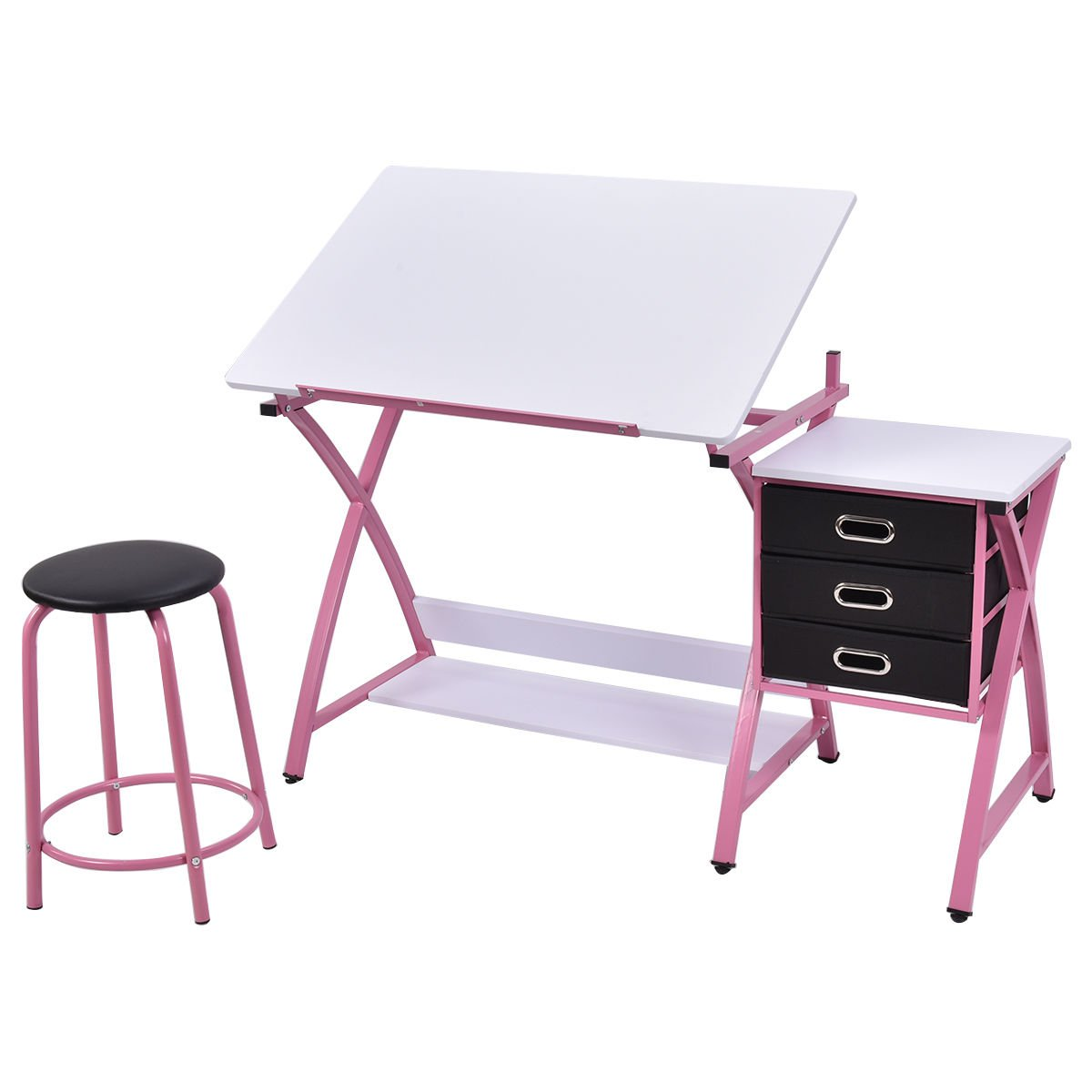 Tangkula Drafting Table Art & Craft Drawing Desk Art Hobby Folding Adjustable w/Stool (Pink)