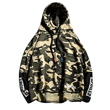 89da8b391af BHYDRY Hoodie Mens Autumn Winter Long Sleeved Camouflage Printed Loose Sweatshirt  Tops(UK-12