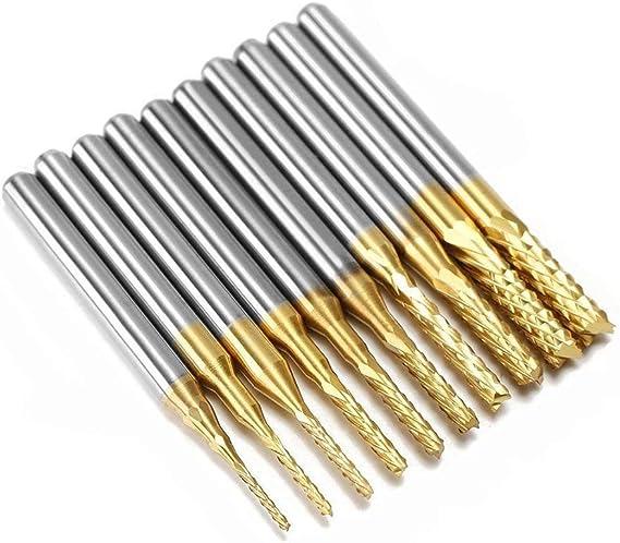 10X PCB Drill Bits Carbide Engraving Cutter Rotary CNC Bit End Mill 0.1-1.0mm UK