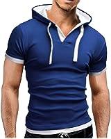 WSLCN Homme T-shirt à Capuche Manches Courtes Moulant Coton Polo T-Shirt
