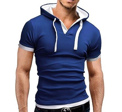 923d2969d359 Elonglin Homme T-Shirt à Capuche Manches Courtes Moulant Bleu FR XS (Asie M