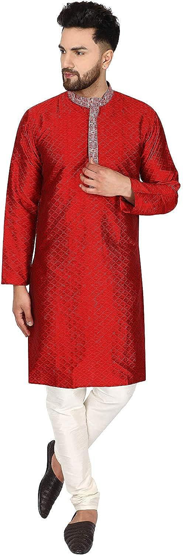 SKAVIJ Herren Tunika Kariert Kurta Pyjama Hochzeit Partei Kleid Set