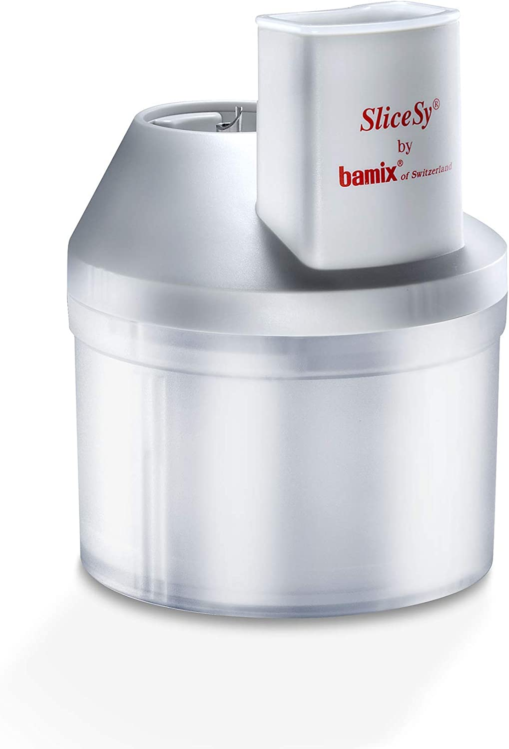 "Bamix – ""SliceSy"" Food Processor Attachment – The Perfect Accessory for your Bamix Immersion Hand Blender – Made in Switzerland – Includes 3 Stainless Steel Graters – Food Processor – Light Grey"