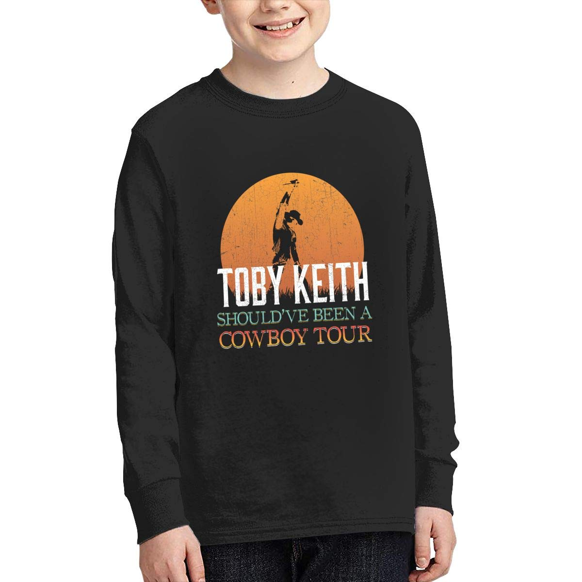 Toby Keith Boys Fashion Classic Long Sleeve T-Shirt Boy Long Sleeve Cotton Round Neck T-Shirt